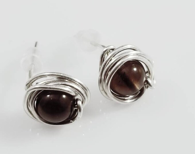 Smokey Quartz Sterling Stud Earrings/ Grounding Crystals