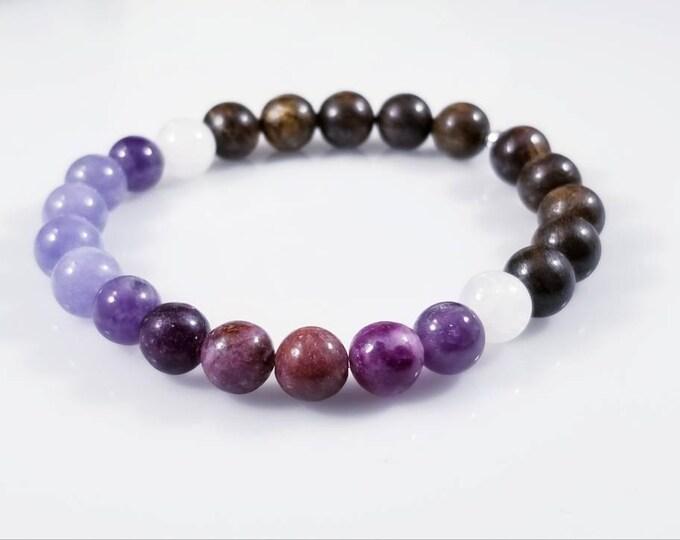 Specialty Healing Energy Bracelets/ Lepidolite, Celestite, Selenite, Amethyst and Bronzite Bracelet/ Pain Management Crystals