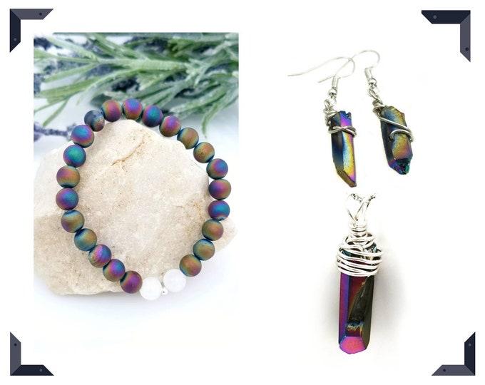 Titanium Quartz Package Deal/ Pendant, Earrings and Bracelet Set/ Protective Crystals/ Calming Crystals