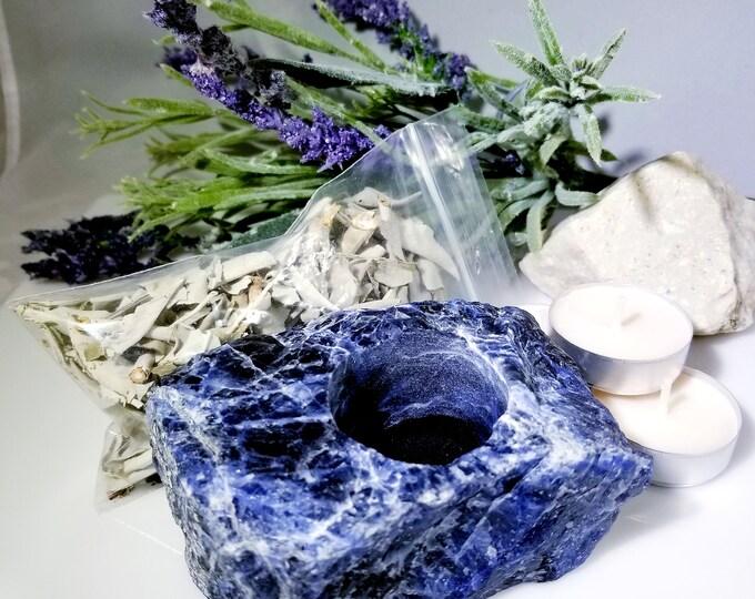 Soldalite Candle Holder/ Wisdom Crystals/ Focus Gemstones