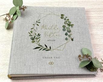 Wedding Album, Personalized, Photo Album, Eucalyptus Wreath, Wedding, Gift, Wedding Gift, Grey, Series 39