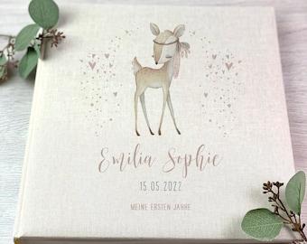 photo album, Personalized, Baby, Child, Memory Album, Girl, Deer, Gift, Birth, Baptism, Beige