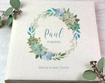 photo album, Personalized, Baby, Child, Memory Album, Flower Wreath, Gift, Beige