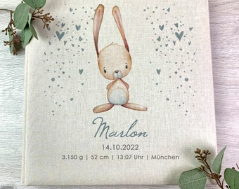 Photo Album, Personalized, Baby, Child, Memory Album, Bunny, Gift, Beige