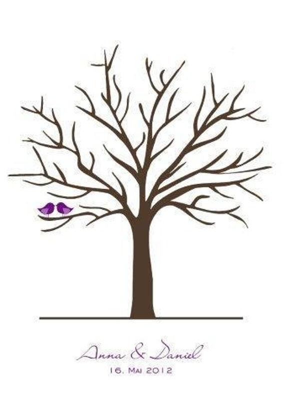 Wedding Tree Gastebuch Hochzeit Baum Hochzeitsgeschenk Fingerabdrucke Vogel Leinwand Gespannt 40x60 Cm