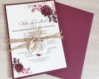 Invitation Wedding, Wedding Invitation, Vintage, Floral Wreath, Bordeaux, Pink, from 25 Invitations - Series 16
