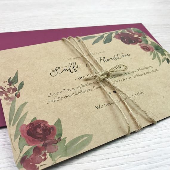 Einladung Hochzeit Hochzeitseinladung Vintage Blumen Etsy