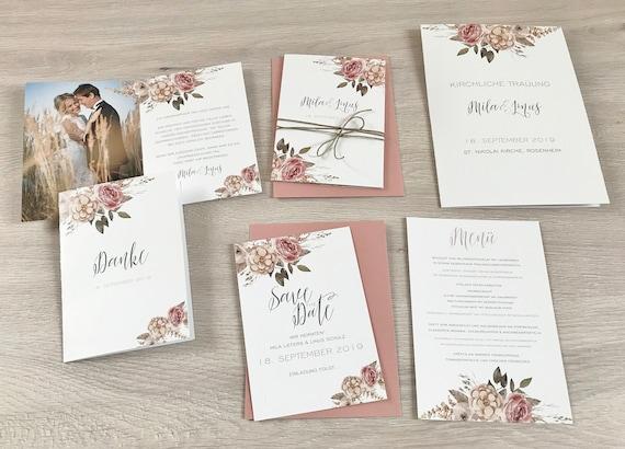 Hochzeitseinladung Einladung Hochzeit A6 Format 6 Seiten Etsy