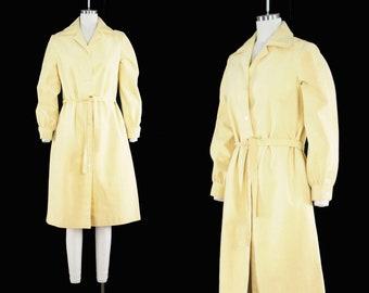 Vintage 1970's Ultrasuede Dress - Butter Yellow Shirt Dress - Collar - Button Front - Long Sleeve - Halston Inspired - Medium Large