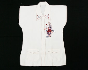 Vintage 90/'s embroidered flame graphic silk button down tunic shirt