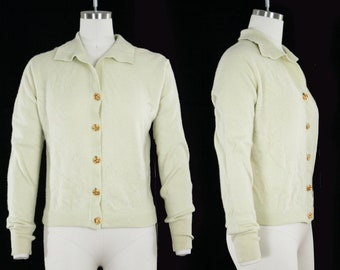 Vintage 1950s Dalton Cardigan - Celery Green Cashmere - Mint Green - Floral - Collar - Long Sleeve - Gold Buttons - Women's  Medium / Large