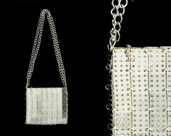 73878f69b037 Vintage 1960s Paco Rabanne for Walborg - Silver - Chain Metal Purse -  Squares - Long Strap - Shoulder Bag - Rare Designer