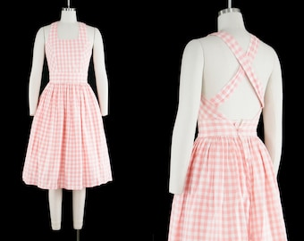 Vintage Pink Gingham Dress - Square Neckline - Cross Straps - Back Button - Extra Small XXS 0 - Marilyn Monroe - Bombshell - Ready to Wear