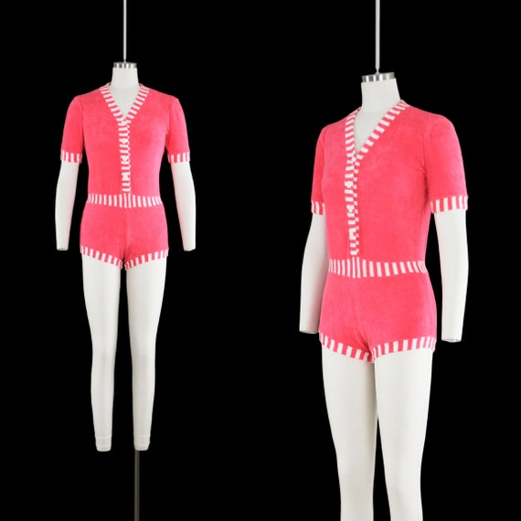 Vintage 1960s Terry Cloth Romper - Pink White Stri