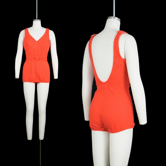 Vintage 1960's One Piece Swim Suit - Low Back - Ve