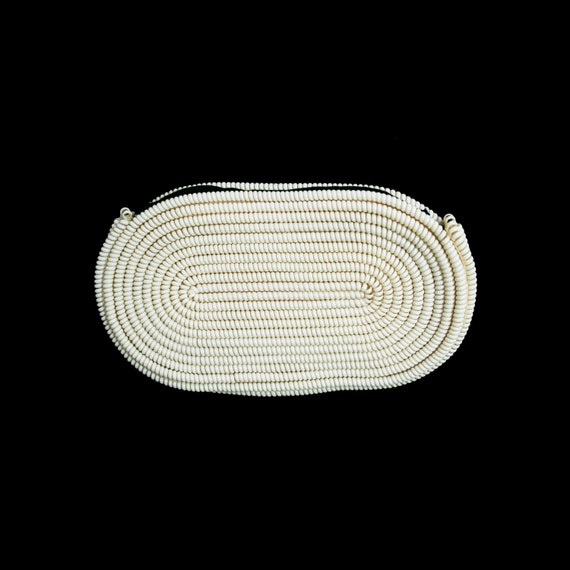 Vintage 1940s Telephone Cord Clutch - White - Larg