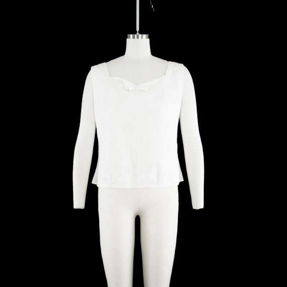 6769d76b21f1e0 Vintage 1940 s Button Back Bow Blouse White Cotton