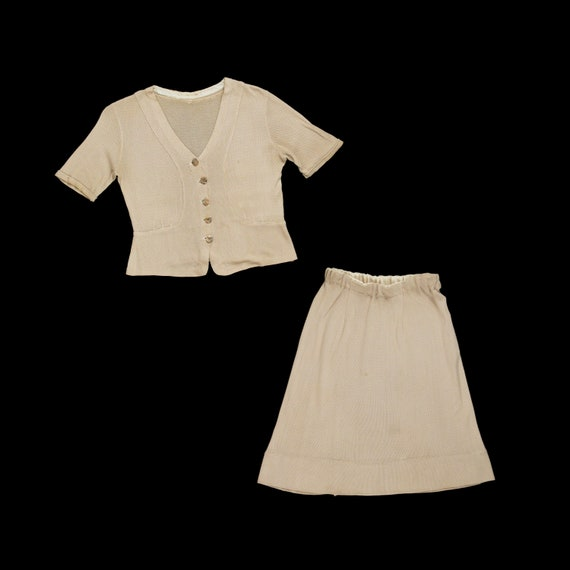 Vintage 1940s Knitwear Skirt Set - Blouse - Deco B
