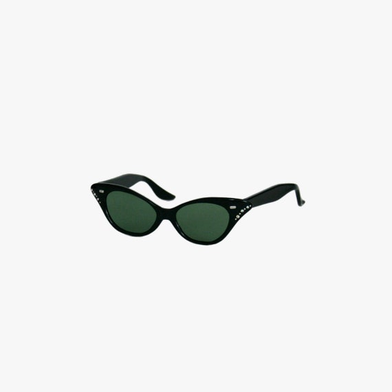 Vintage 1950's Cat Eye Sunglasses - Black - Rhines