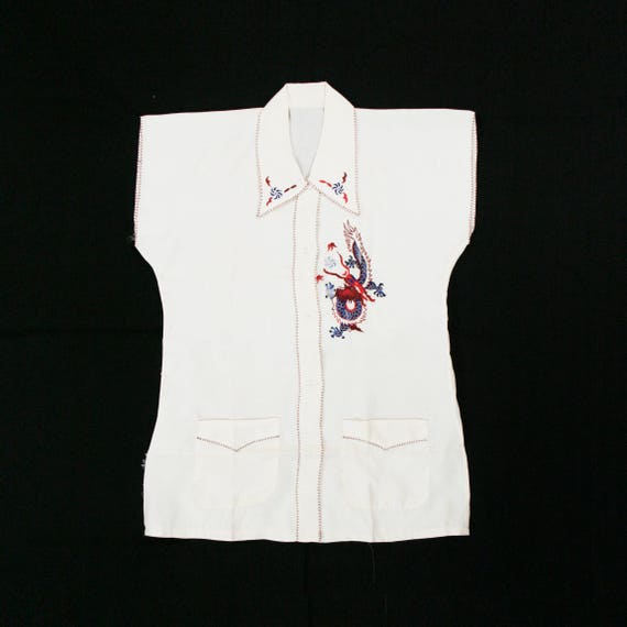Vintage 1930's Embroidered Dragon Silk Blouse - As