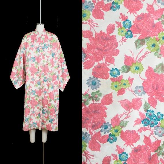 Vintage 1950s Rose Print Kimono -  Novelty Floral