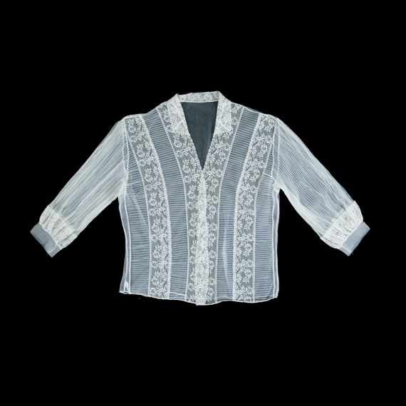 Vintage 1940's Sheer White Blouse - Button Front -