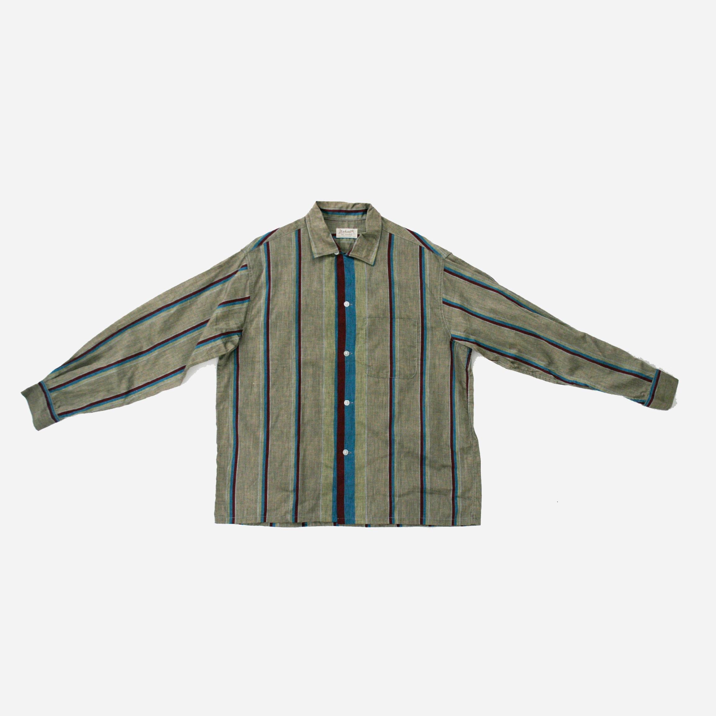 1940s Mens Ties | Wide Ties & Painted Ties Vintage 1940s Mens Stripe Mohawk Button Down - Gray Burgundy Blue Loop Collar Shirt Long Sleeve Print Atomic Xxl Deadstock $0.00 AT vintagedancer.com