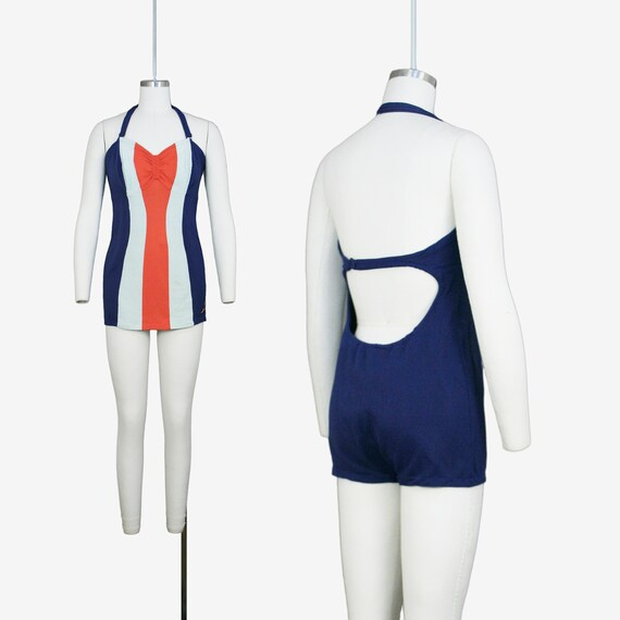 Vintage 1940s Jantzen Swimsuit - Color Block - One