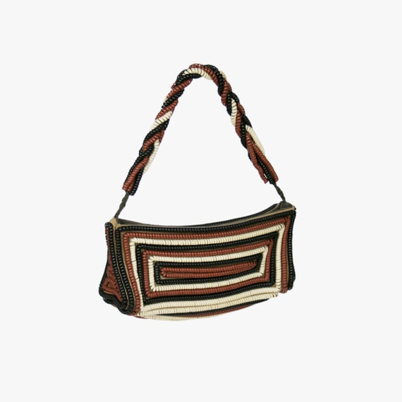 Vintage 1940s Brown Telephone Cord Purse - Cream -