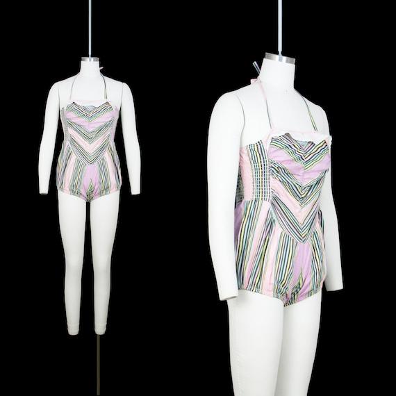 Vintage 1930's Swim Suit - One Piece - Cotton Stri