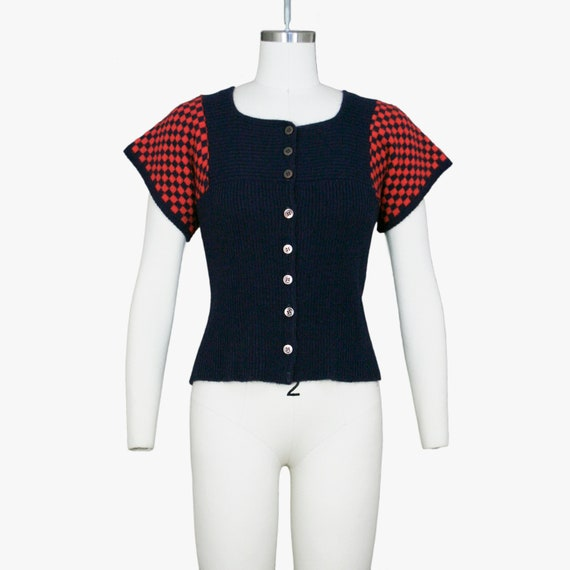 Vintage 1960s Checker Print Sweater - Short Sleeve
