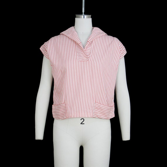 Vintage 1950s Sailor Blouse  - Red White Stripe -