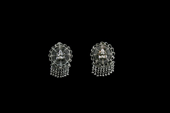 Antique 1900's Spider Web Earrings - Sterling Silv
