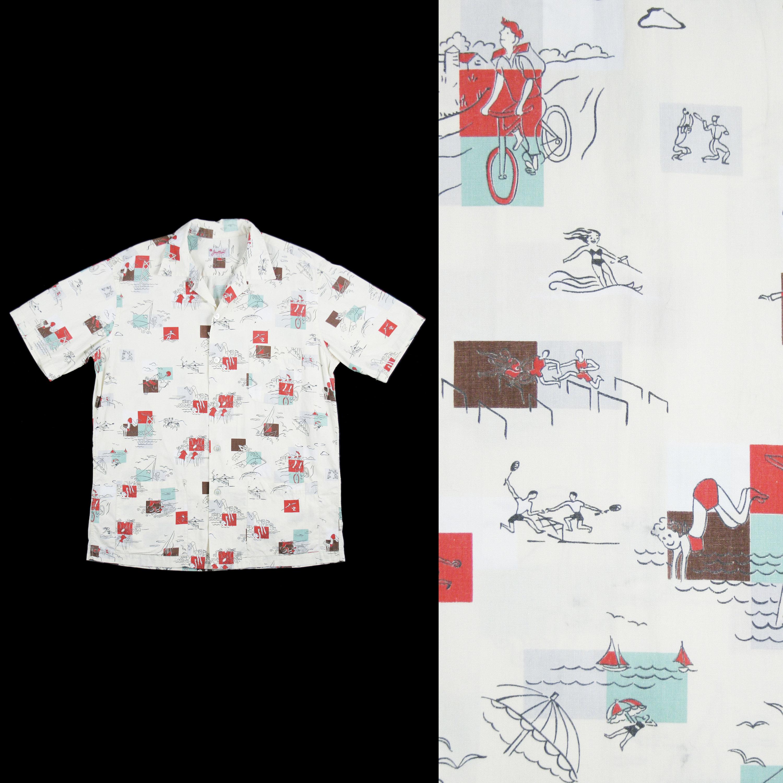 1950s Men's Ties, Bow Ties – Vintage, Skinny, Knit Vintage 1950s Novelty Print Button Down - Jantzen Atomic Beach Surfer Bicycle Swim Vacation Loop Collar Hep Cat Large $325.00 AT vintagedancer.com