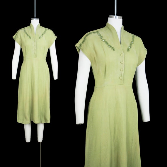 Vintage 1930s Day Dress - Waffle Knit - Thermal -