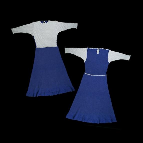 Vintage 1930s Knitwear Maxi Dress - Color Block Sw