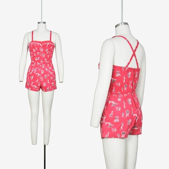 Vintage 1950's Catalina Swim Suit - Novelty Print