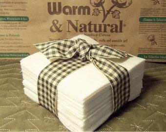"50 ~ 8"" Batting Squares Pre-Cut Warm & Natural, Quilt-As-You-Go, Rag Quilts, Potholders"