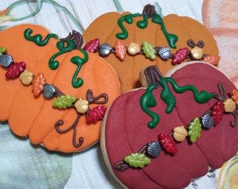 Pumpkin Sugar Cookies 12 ea/ Thanksgiving Sugar Cookies/ Fall Decorated Cookies/ Turkey Day Sugar Cookies