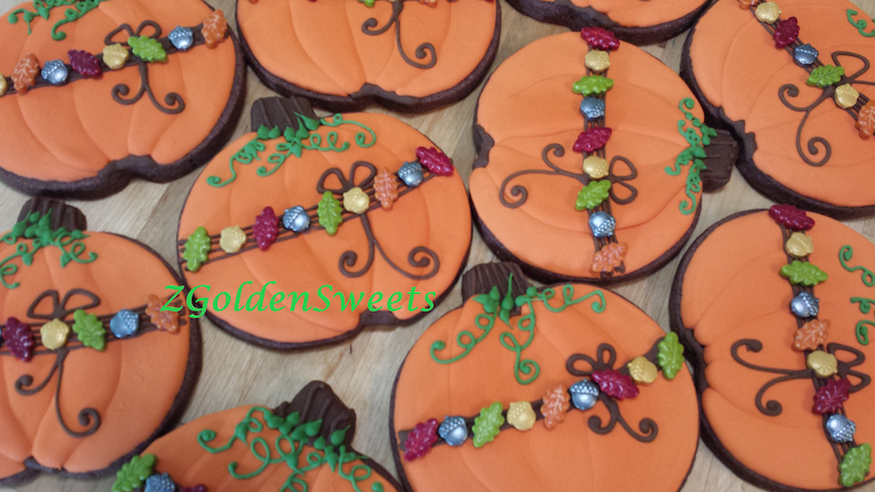 Pumpkin Sugar Cookies 12 Ea Thanksgiving Sugar Cookies Fall Etsy