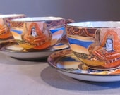 SET OF FOUR Vintage Japanese Satsuma Cups And Saucers Set Of Four Beautiful Condition