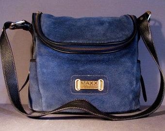 c03fb1063add Vintage MAXX New York Purse BOHO Blue Suede Handbag Leather Bag Cross-body