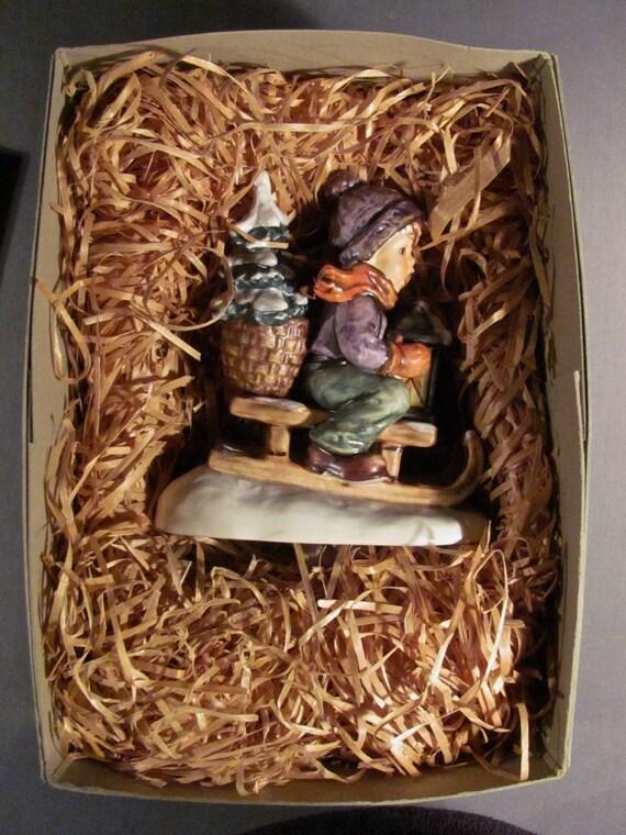 RARE M.I Hummel Ride Into Christmas Figurine Original Box And Packing #396 1971 Original Paper Label