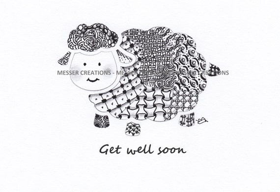 graphic relating to Get Well Soon Printable identified as Zentangle obtain properly before long printable card artwork - sheep