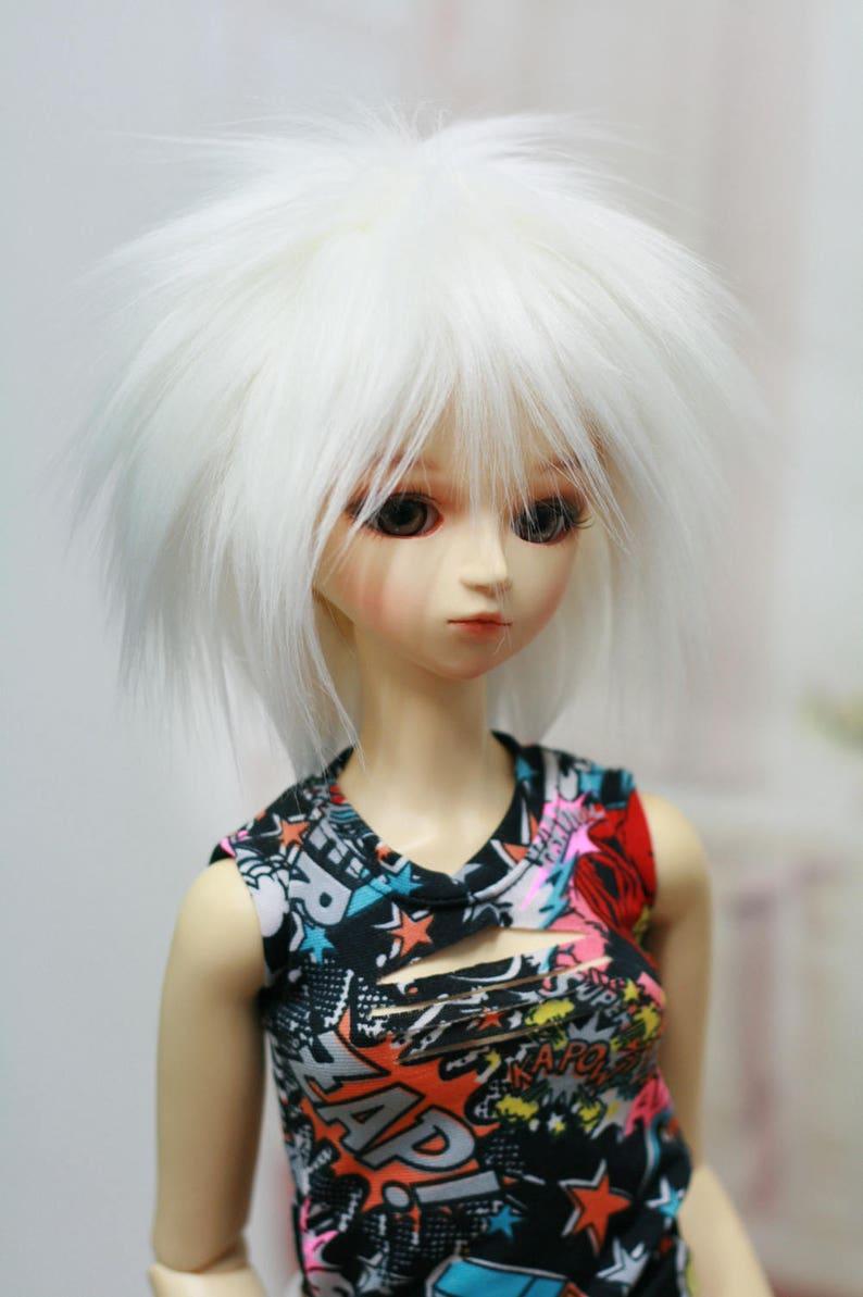 MIYONI BJD Wig Shaggi Cut Thick Hair White 9-10 8-9 7-8 6-7 inch Synthetic Fur