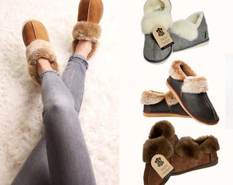 fe7252644 Hand crafted New Mens Womens Genuine Sheepskin Boot Moccasin Slippers 100%  Fur Lined unique gifts christmas present ideas