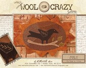 Buttermilk Basin Wool Crazy Pattern - July Sunflower Crow - 15.5 x 11 quot