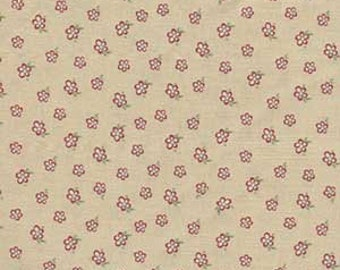 """Shirting Quilting Fabric - Half Yard - Windham Fabrics - Elm Cottage Color - Cream with red print  18 x 44"""""""