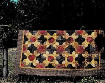 "Primitive Quilt Pattern - ""Pinny's Posies"" 59 x 73"" by Primitive Pieces by Lynda Scrappy and fun!"