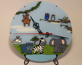 Hand painted wall clock with cute animals